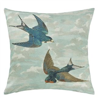 Chimney Swallows Sky Blue Decorative Pillow