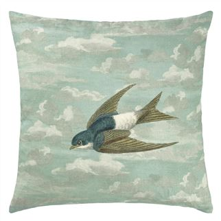 Chimney Swallows Sky Blue Cushion - Reverse