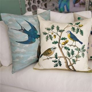 Chimney Swallows Sky Blue Decorative Pillow | John Derian