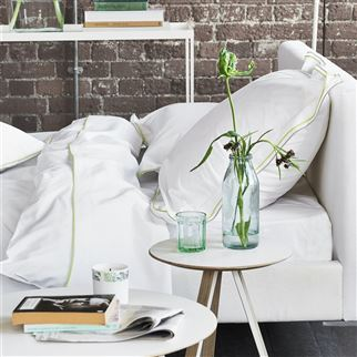 Astor Pale Grey & Lime Plain Cotton Bed Linen | Designers Guild