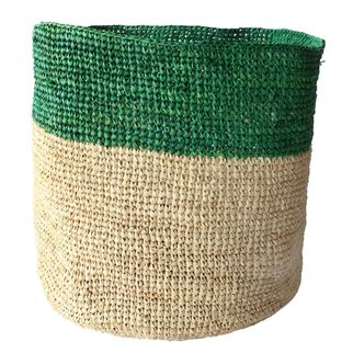 Green Horizontal Top Striped Basket