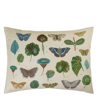 A Leaf And Butterfly Study Linen Decorative Pillow