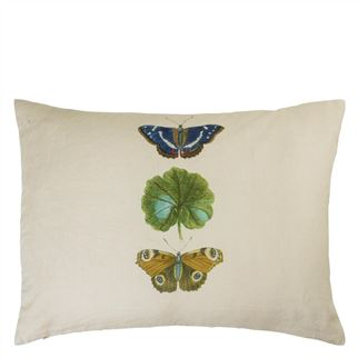 A Leaf and Butterfly Study Linen Cushion - Reverse
