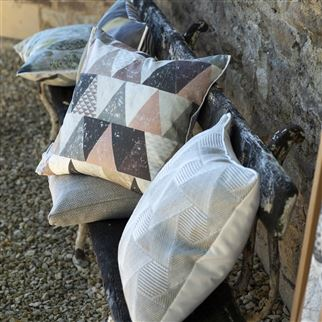 Delray Outdoor Natural Geometric Jacquard Cushion | Designers Guild