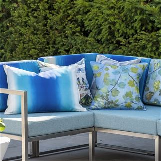 Giardino Segreto Outdoor Cornflower Blue Cushion | Designers Guild