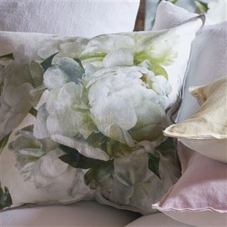 Peonia Chartreuse Decorative Pillow | Designers Guild