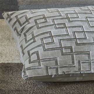 Jeanneret Platinum Grey Geometric Velvet Cushion | Designers Guild