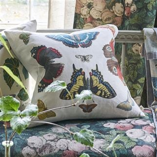 Mirrored Butterflies Carmine Decorative Pillow