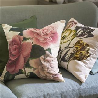 Variegated Tulips Buttermilk Decorative Pillow  | John Derian