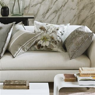 Carrara Fiore Platinum Floral Cushion | Designers Guild