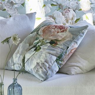 Peonia Grande Zinc Decorative Pillow | Designers Guild