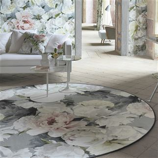 Peonia Grande Zinc Floral Multi Coloured Rug | Designers Guild