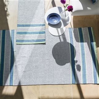 Pompano Cobalt Striped Blue & Natural Rug | Designers Guild
