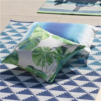 Brahmi Outdoor Leaf Printed Green Floral Cushion | Designers Guild