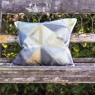Bougival Outdoor Zinc Printed Geometric Cushion | Designers Guild