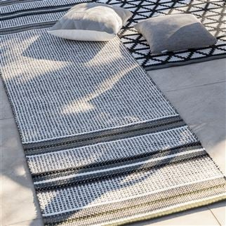 Pompano Natural Striped Neutral Runner Rug | Designers Guild