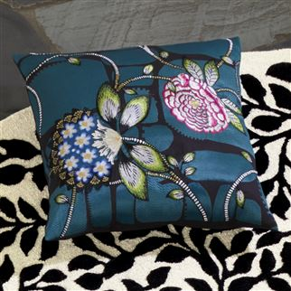 Les Rosales Bleu Paon Decorative Pillow | Christian Lacroix