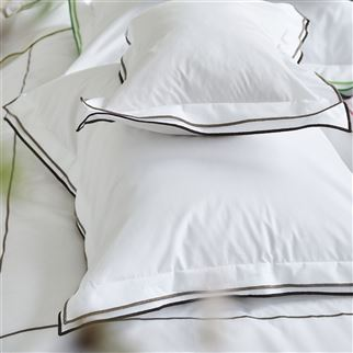 Astor Espresso & Birch Plain White Cotton Bed Linen | Designers Guild