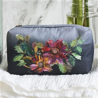 Indian Sunflower Graphite Small Washbag | Designers Guild