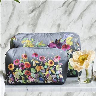 Indian Sunflower Graphite Medium Washbag | Designers Guild