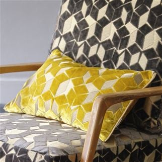 Fitzrovia Ochre Yellow Geometric Cushion | Designers Guild
