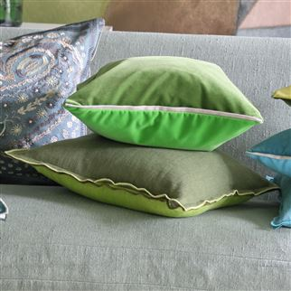 Brera Lino Leaf Green Plain Linen Cushion | Designers Guild