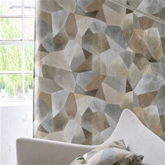 Geo Moderne Pewter Fabric | Designers Guild