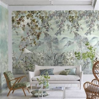 Miyako Scene 2 Dove Wallpaper | Designers Guild