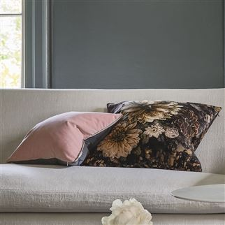 Dahlia Noir Slate Brown Floral Velvet Cushion | Designers Guild