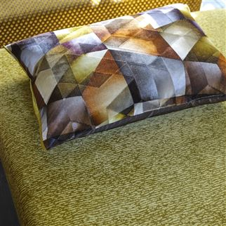 Maurier Ochre Brown Geometric Cushion | Designers Guild