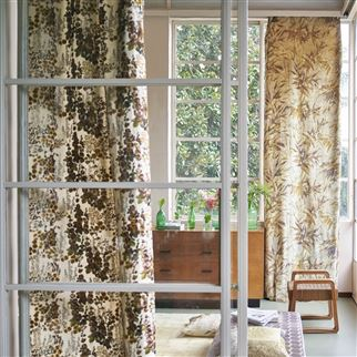 Hollyhock Ochre Fabric | Designers Guild