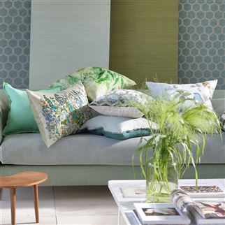 Hollyhock Celadon Cushion | Designers Guild