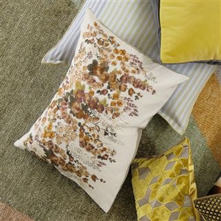 Hollyhock Ochre Cushion | Designers Guild