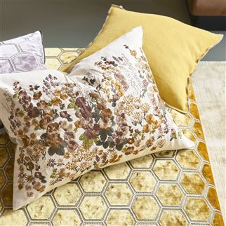 Brera Lino Ochre & Pebble Cushion | Designers Guild