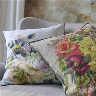 Grandiflora Rose Dusk Decorative Pillow | Designers Guild