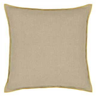 Brera Lino Ochre & Pebble Cushion - Reverse