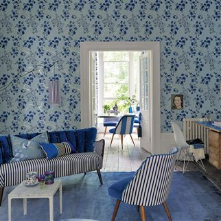 franchini - cobalt fabric | Designers Guild