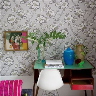 lotus flower - oyster wallpaper | Designers Guild