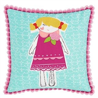 Miss Muffet Magenta Kids Throw Pillow