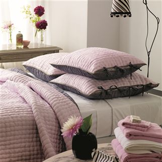 Chenevard Pale Rose & Slate Grey Quilted Pillowcases | Designers Guild