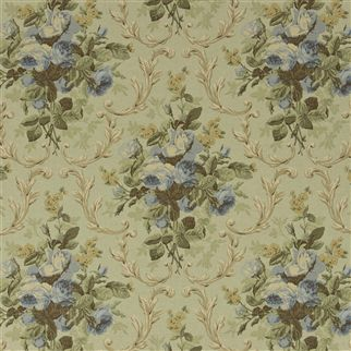 cottage rose floral - prairie blue
