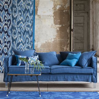 brera lino - denim fabric | Designers Guild Essentials