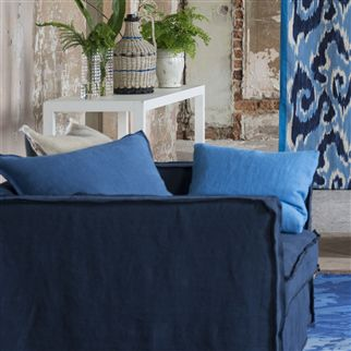brera lino - indigo fabric | Designers Guild Essentials