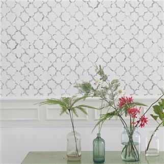 chinese trellis - slate wallpaper | Designers Guild