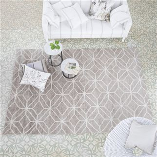 Caretti Linen Geometric Neutral Bamboo Rug | Designers Guild