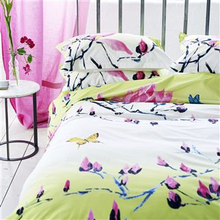 Madame Butterfly Lime Bed Linen