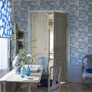 fresco leaf - indigo fabric | Designers Guild