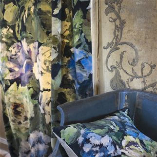 bloomsbury rose - indigo fabric | Designers Guild