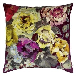 Bloomsbury Rose Damson Throw Pillow