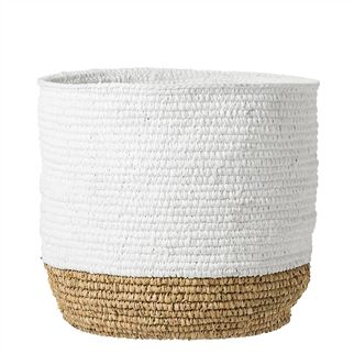 WHITE RAFFIA SMALL BASKET